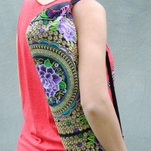 Handbags - Yoga Mat Bag- Purple Flower Hand Embroidered